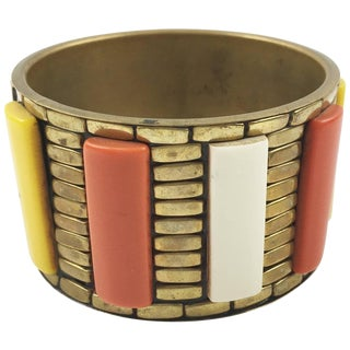 Space Age Machine Age Large Modernist Brass and Lucite Bracelet Bangle For Sale
