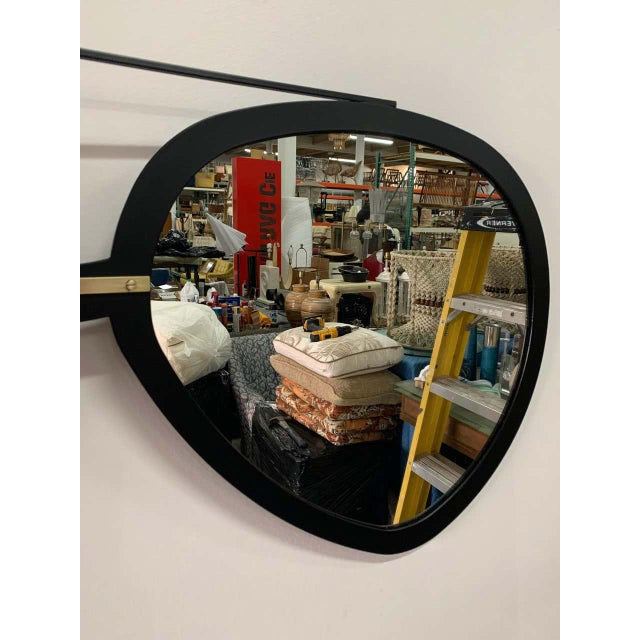 Vintage Aviator Sunglasses Mirror in Black Matte Frame For Sale In New York - Image 6 of 7