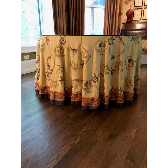 """Glass Custom Made 54"""" Round Dining Table With Custom Table Cloth For Sale - Image 7 of 9"""