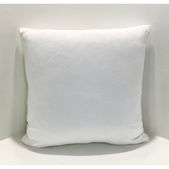 """Contemporary Square Custom Made White With Navy Greek Key Trim Pillow - 21"""" For Sale - Image 4 of 7"""