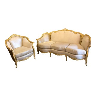 Antique Victorian Hand Carved Sofa and Lounge Chair Newly Upholstered - 2 Piece Set For Sale