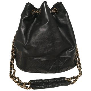 Chanel Vintage Black Leather Drawstring Bucket Shoulder Bag For Sale