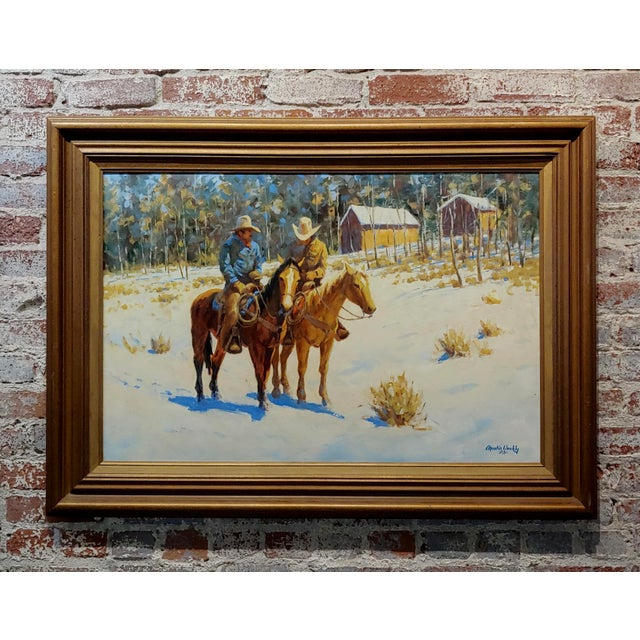 Blue 1970s Oil Painting, Cowboys on Horse by Martin Weekly For Sale - Image 8 of 8