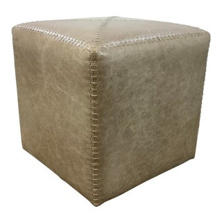 Jamie Young Modern Small Taupe Leather Ottoman For Sale