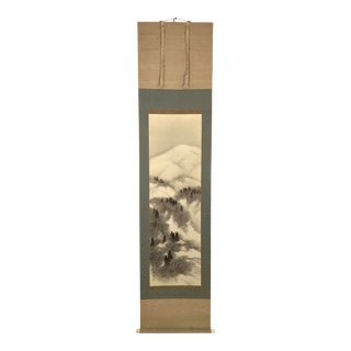 """Late 19th Century """"Little Houses on the Snowy Mountain"""" Japanese Hanging Scroll Painting (Kakejiku) For Sale"""