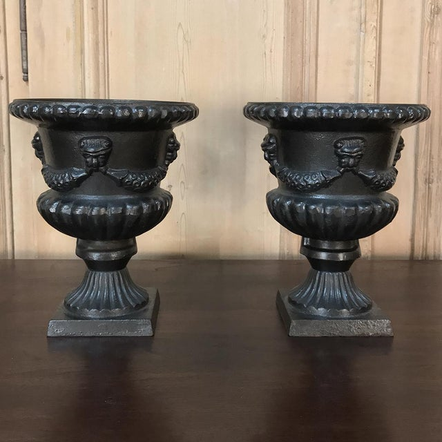 Late 19th Century Garden Urns, 19th Century Neoclassical in Cast Iron - a Pair For Sale - Image 5 of 13