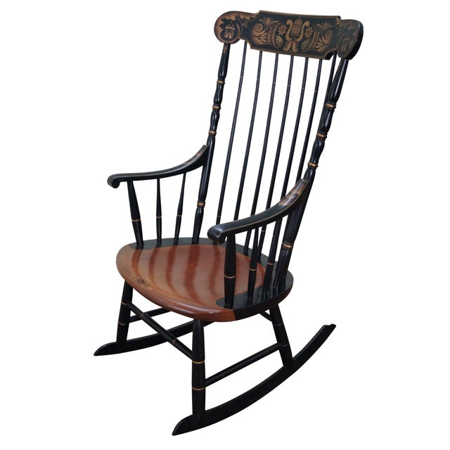 Hitchcock Black Painted Stenciled Rocking Chair - Image 1 of 10