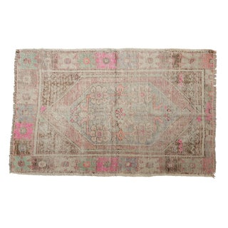 "Vintage Distressed Oushak Rug - 2'9"" X 4'4"" For Sale"