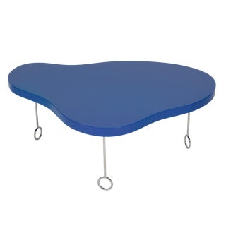 "Matthews & Parker ""Royale 1"" Blue Biomorphic Coffee Table For Sale"