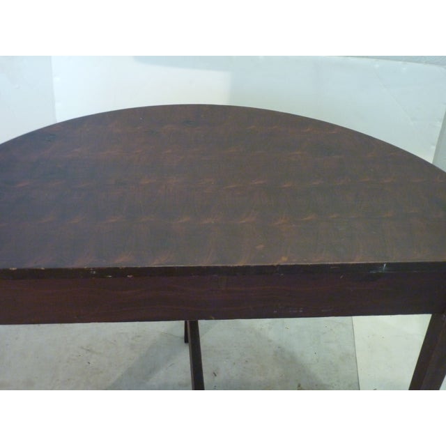 Brown Early American Faux-Grain Demi-Lune Console For Sale - Image 8 of 9
