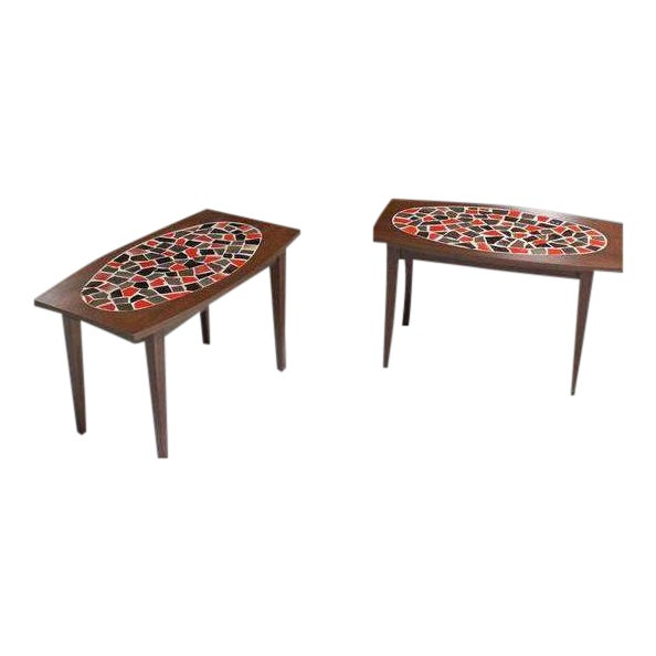 Mid Century Vintage Walnut and Tile Mosaic Side Tables- A Pair For Sale