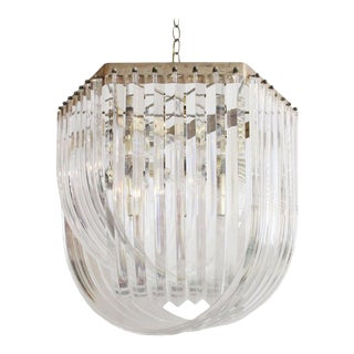 Large Lucite Ribbon Chandelier For Sale