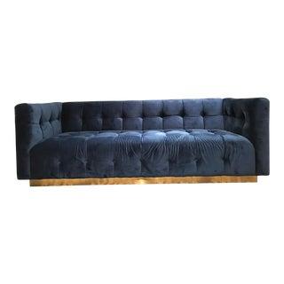 Tufted Velvet Brass Plinth Sofa Milo Baughman Style