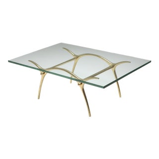 1970s Bronze Hollywood Regency Coffee Table by Kouloufi For Sale