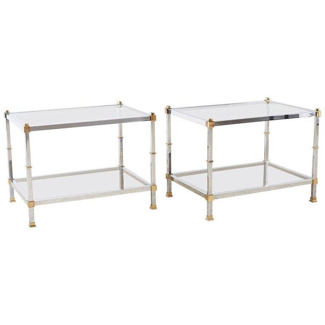 Pair of Maison Jansen Style Chrome and Brass Tables For Sale - Image 13 of 13