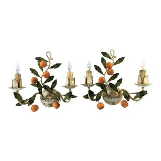 Italian Orange Tole 2 Light Wall Sconces - a Pair