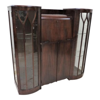 Vintage English Art Deco Dark Oak Secretary Desk With Side by Side Display Cabinets For Sale