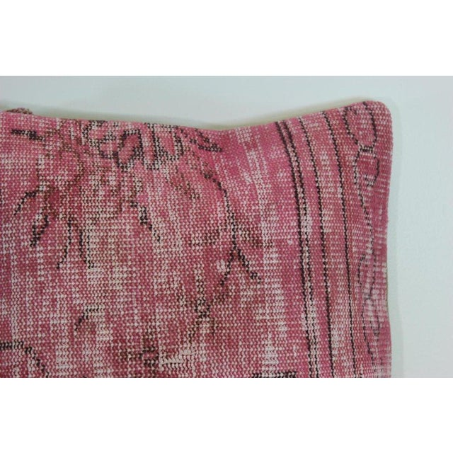 Pink Handmade Over-Dyed Rug Pillow Covers - A Pair - Image 3 of 6