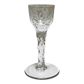 Floral Engraved Continental Wine Glass with Faceted Stem For Sale