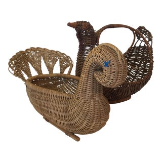 Swan & Chicken Baskets - A Pair