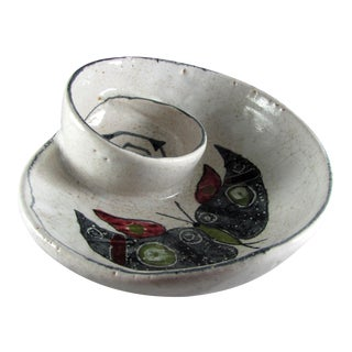 Mid Century Modern Bitossi for Raymor Italy Butterfly Moth Chip & Dip Swirl Bowl For Sale