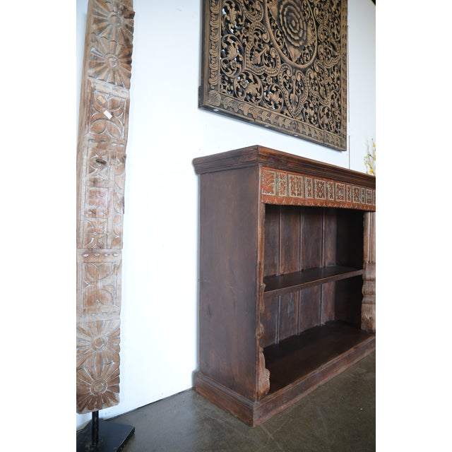 Anglo-Indian Vintage Indian Hand Carved Bookshelf For Sale - Image 3 of 10