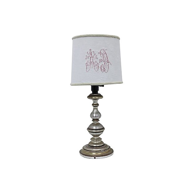 Antique French Damask Lamp Shade For Sale