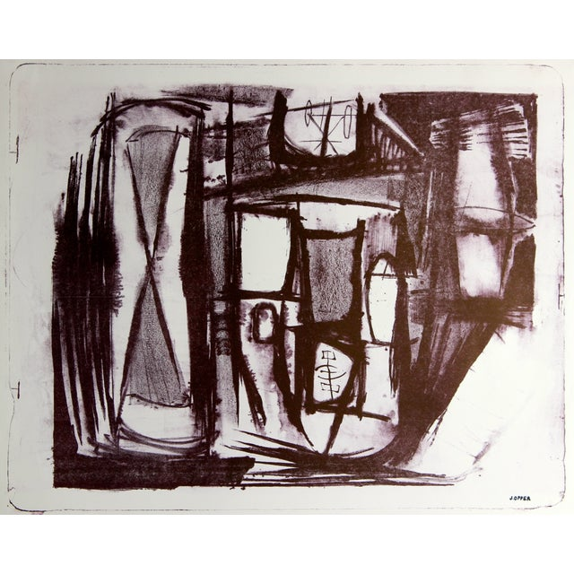 Monochromatic Mid-Century Abstract Lithograph - Image 1 of 3