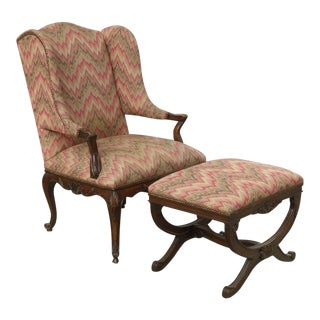 1970s Vintage Wingback French Provincial Papa Bear Style Rose Accent Chair & Ottoman For Sale