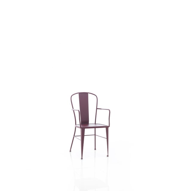 French Provincial Bistro Garden Chairs in Colours Wrought Iron With Optional Wood Seat For Sale - Image 3 of 4