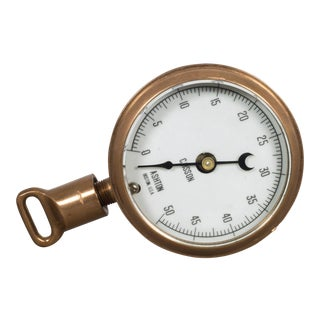 Antique Brass Pressure Gauge C.1920 For Sale