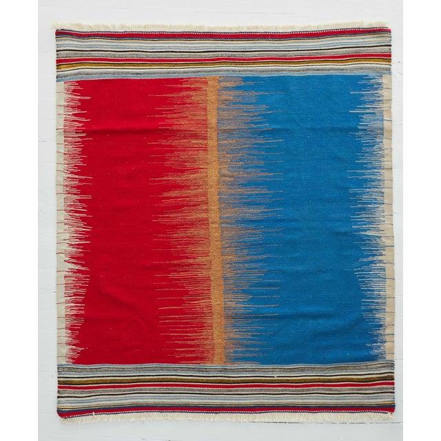 Kamo Sofreh Handmade Wool Kilim Rug - 4′ × 5′ For Sale - Image 6 of 6