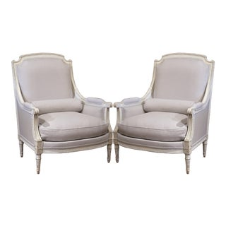 Pair of 19th Century French Louis XVI Carved Painted Armchairs With Grey Fabric For Sale