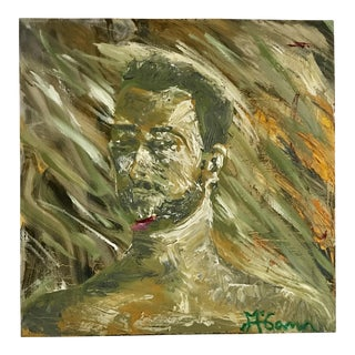 Impressionist Shades of Green Abstract Male Portrait on Canvas | Green Wall Hanging