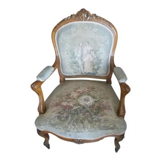 Late 19th Century Victorian Light Wood Fabric and Walnut Chair For Sale