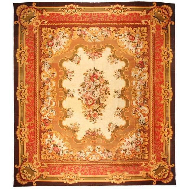 Antique oversize 19th century French Aubusson carpet. Contact dealer. Excellent condition.