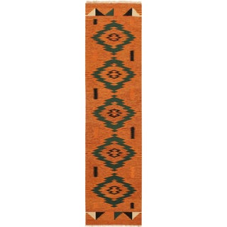 Mollie Orange/Green Hand-Woven Kilim Wool Rug -2'7 X 9'10 For Sale