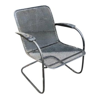 Mid Century Wrought Iron Cantilever Chair For Sale