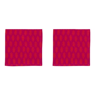 Fern Napkins, Rani Pink & Orange - A Pair For Sale