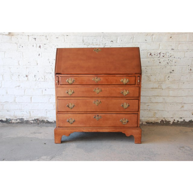 18th Century Early American Chippendale Cherry Wood Drop-Front Secretary Desk For Sale - Image 13 of 13