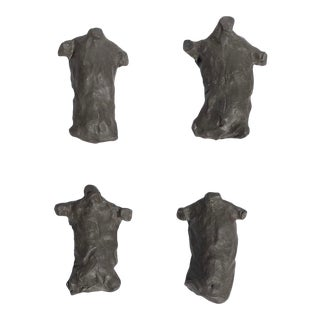 Figurative Clay Wall Sculptures of Male Torsos - 4 Pieces For Sale