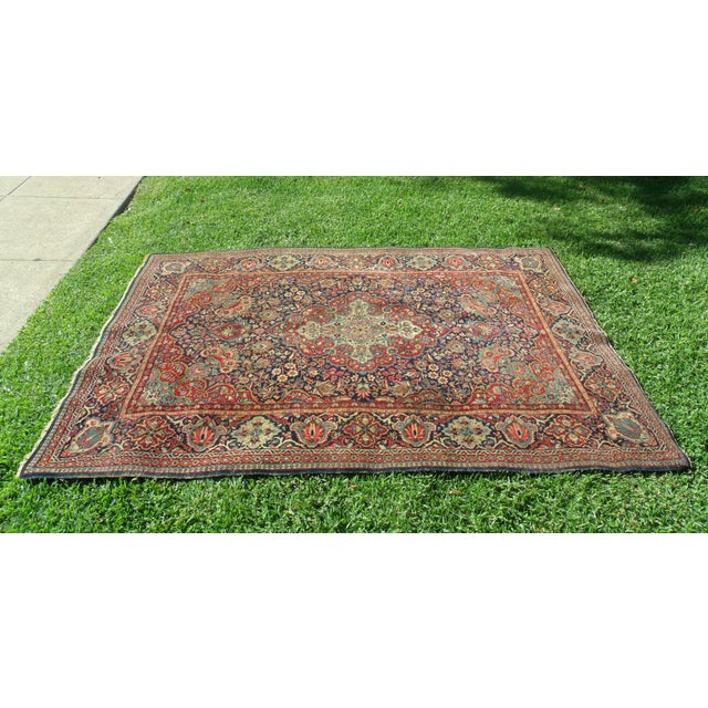 Fiber Antique Persian Oriental Handwoven Rug - 4'5'' X 6'6'' For Sale - Image 7 of 11