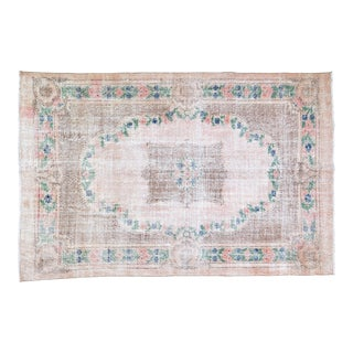 "Vintage Turkish Anatolian Whitewash Hand Knotted Organic Wool Fine Weave Rug,5'8""x8'9"" For Sale"