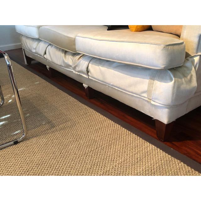 Vintage Long Three Cushion Velvet Upholstered Sofa For Sale - Image 11 of 11