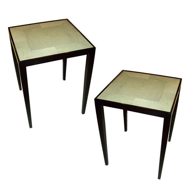2000 - 2009 Custom Pair of Handcrafted Shagreen End Tables For Sale - Image 5 of 5