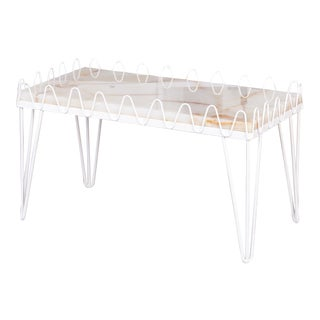 Jean Royère Style Undulating Coffee Table With Onyx Top For Sale