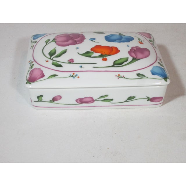 Wonderful porcelain two section card box made for the Horchow Co. The box is decorated with a Art Nouveau floral design...