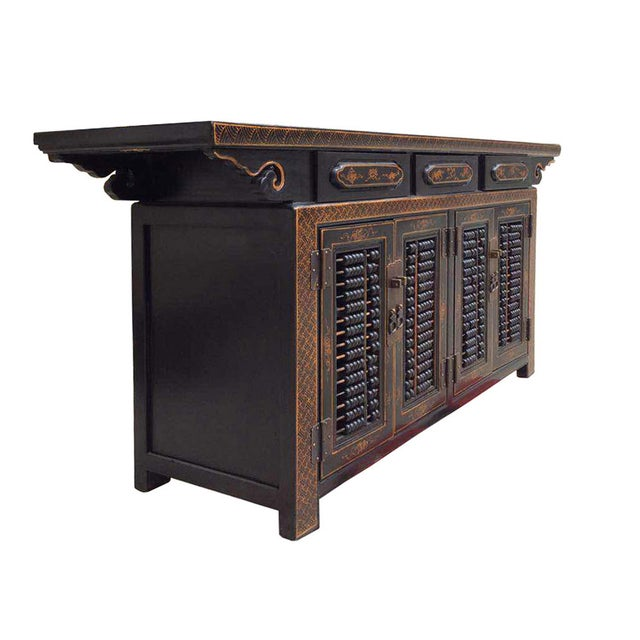 Dark Brown Rattan Top Abacus Accent Credenza - Image 3 of 6