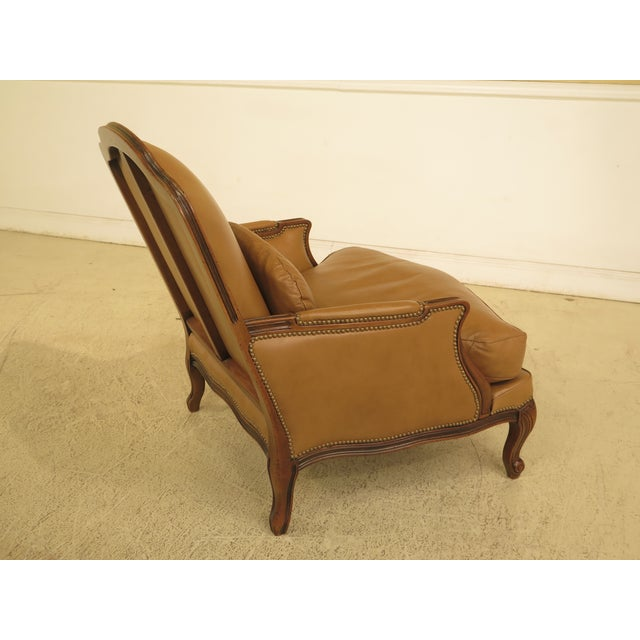 French Louis XV Style Leather Lounge Chair & Ottoman - A Pair - Image 8 of 13
