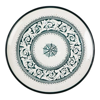 Zahra Green & White Plate For Sale
